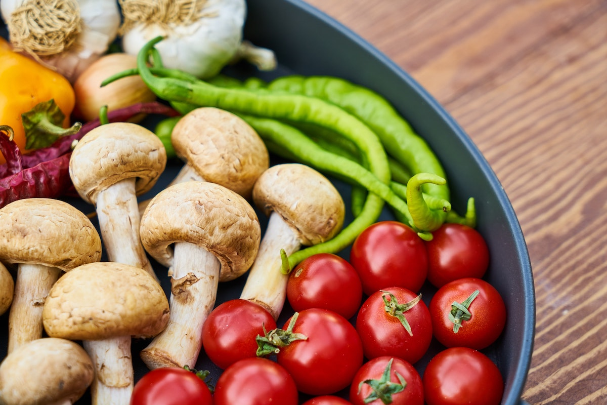mushrooms, tomatoes, and other nutritious veggies.