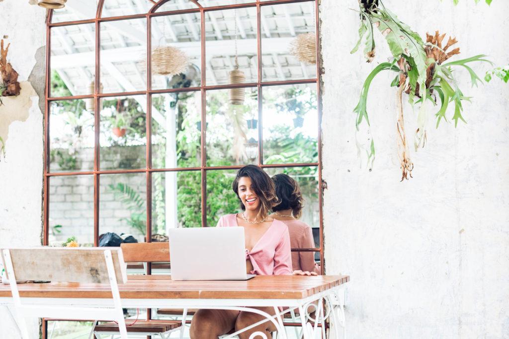 Writer working on laptop.