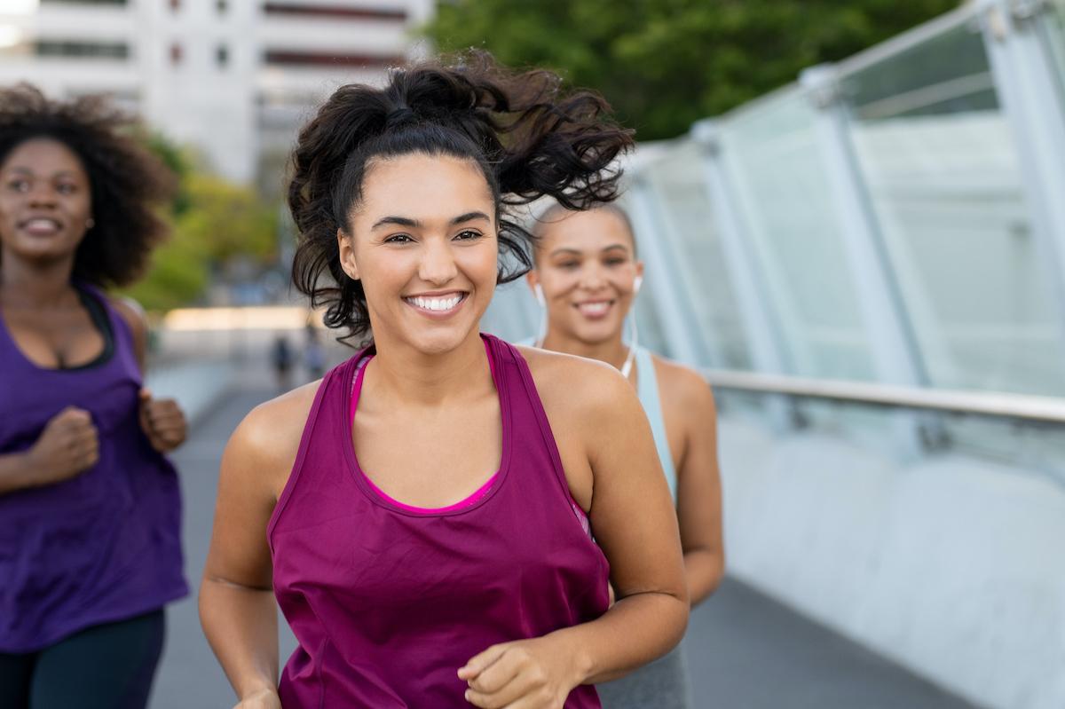happy women jogging