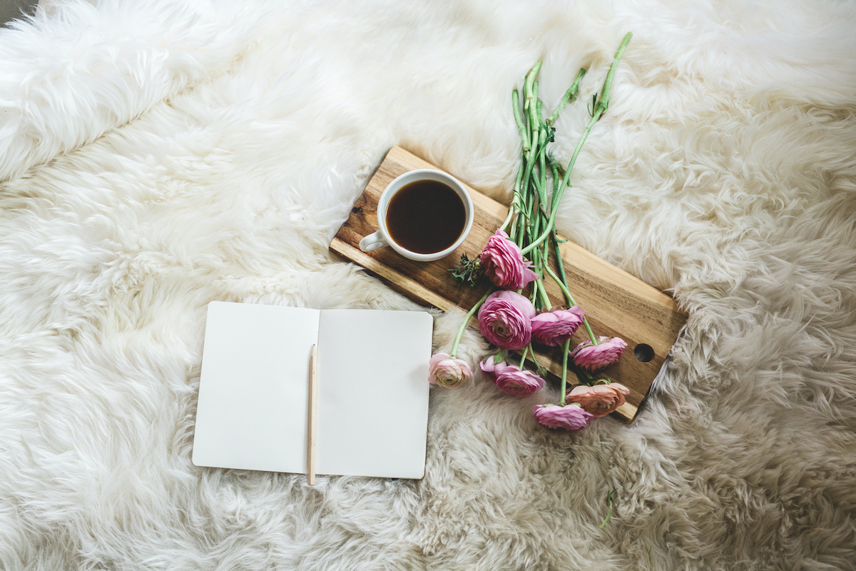 journaling, journal with flowers and coffee